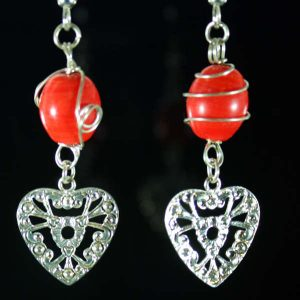 Red and Silver Heart Drop Surgical Steel Earrings