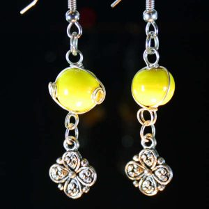 Bright Yellow and Silver Flower Drop Surgical Steel Earrings