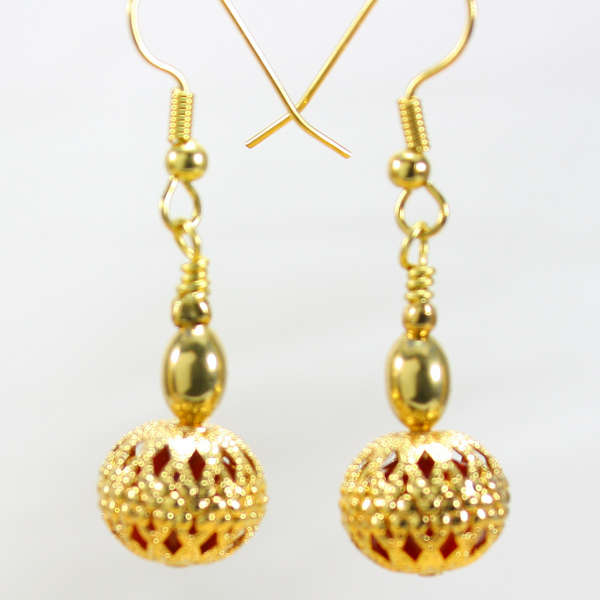 Golden Caged Crystal Surgical Steel Earrings