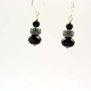 Black and Silver Glam Fashion Earrings