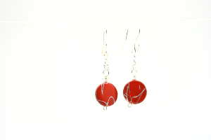 Red & Silver Abalone Earrings